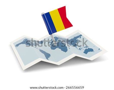 Map with flag of romania isolated on white - stock photo