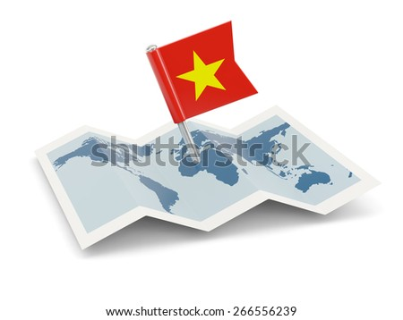 Map with flag of vietnam isolated on white - stock photo
