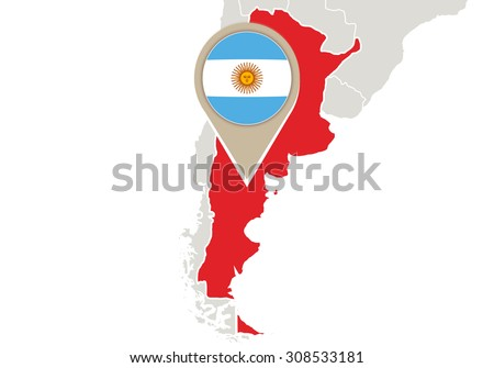 Map with highlighted Argentina map and flag, Rasterized Copy - stock photo