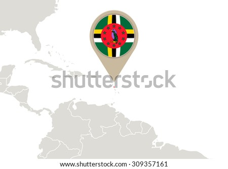 Map with highlighted Dominica map and flag, Rasterized Copy