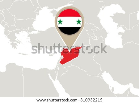 Map with highlighted Syria map and flag, Rasterized Copy - stock photo