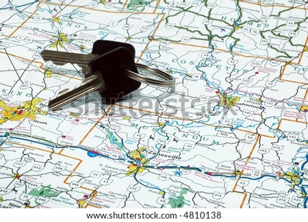 Map with keys - stock photo