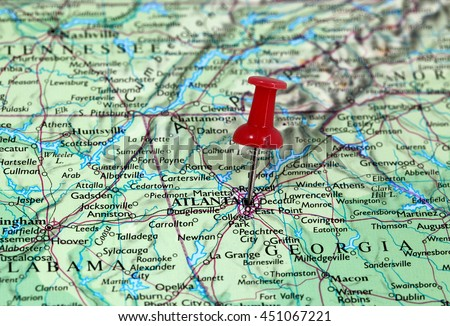 Map with pin point of Atlanta in Georgia, USA - stock photo