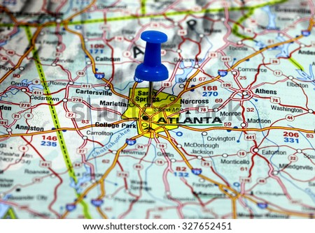 map with pin point of atlanta in usa - stock photo