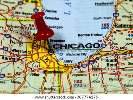 map with pin point of chicago in usa - stock photo