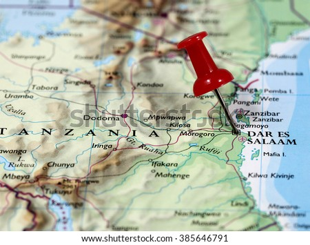 Map with pin point of Dar Es Salaam in Tanzania - stock photo