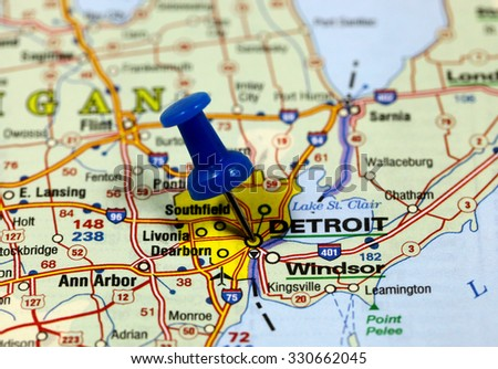 Map with pin point of Detroit in usa - stock photo