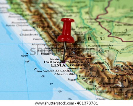 Map Pin Point Lima Peru Stock Photo Royalty Free 401373781