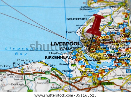 Map with pin point of Liverpool in England - stock photo