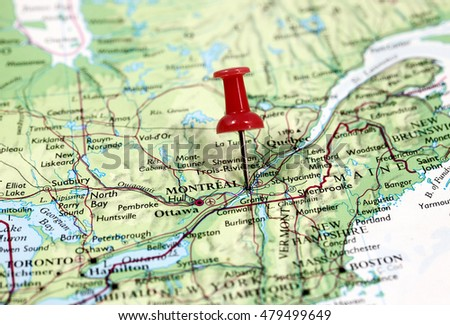 Map with pin point of Montreal in Canada