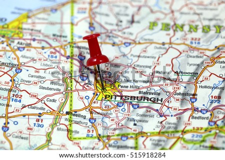 Map Pin Point Pittsburgh Pennsylvania Usa Stock Photo - Us map pittsburgh