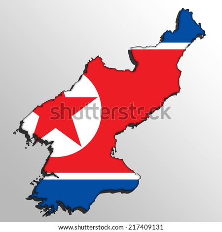 Map with the flag inside - North Korea