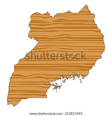 Map with wood texture inside - Uganda - stock photo