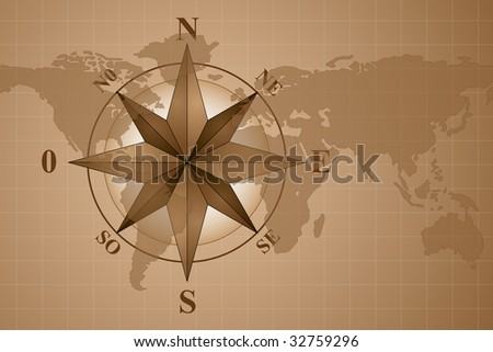 map world and compass rose - stock photo