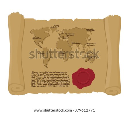 Map world of ancient scroll with seal of King. Old document. Archaic treasure map. Abstract handwritten text. Antique manuscript with mainlands. Geographic