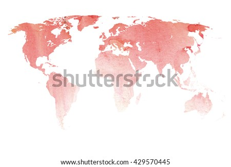 map world watercolor background abstract isolated silhouette - stock photo