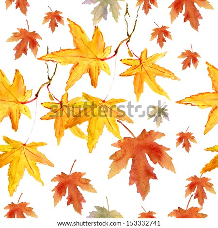maple-leaf watercolor pattern - stock photo