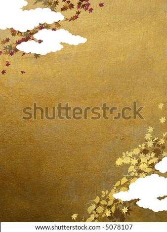 maple leaves retro background - stock photo