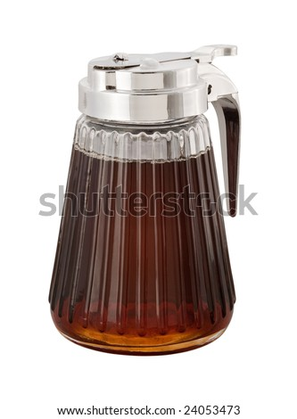 Maple Syrup and dispenser with a clipping path - stock photo
