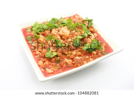 Mapo tofu Chinese cuisine isolated on white - stock photo