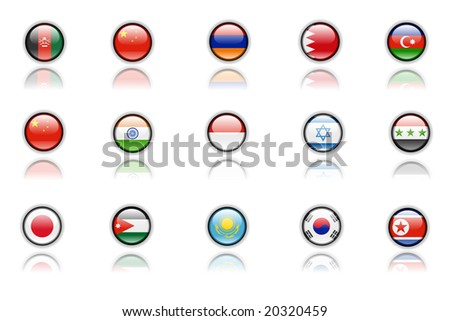 maps of asian countries - stock photo