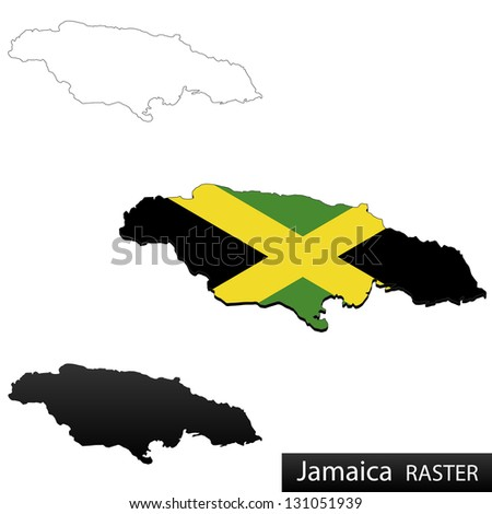 Maps of Jamaica, 3 dimensional with flag clipped inside borders,and shadow, and black and white contours of country shape, raster copy