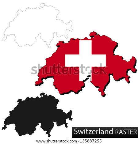 Maps of Switzerland, 3 dimensional with flag clipped inside borders,and shadow, and black and white contours of country shape, raster copy