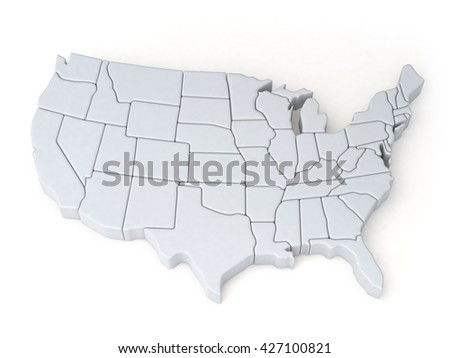 Maps of the United States. 3D illustration - stock photo