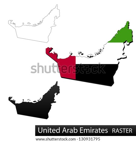 Maps of United Arab Emirates, 3 dimensional with flag clipped inside borders,and shadow, and black and white contours of country shape, raster copy - stock photo