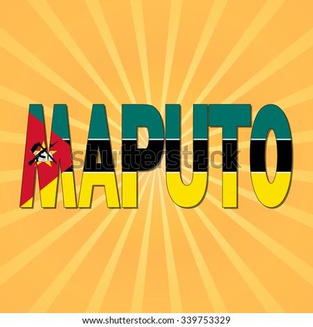 Maputo flag text with sunburst illustration - stock photo