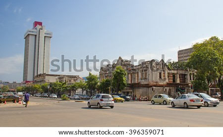MAPUTO, MOZAMBIQUE - APRIL 29: Badly maintained colonial buildings in Maputo, Mozambique on April 29, 2012. Mozambique tries to receover from the over 20 years of civil war. - stock photo