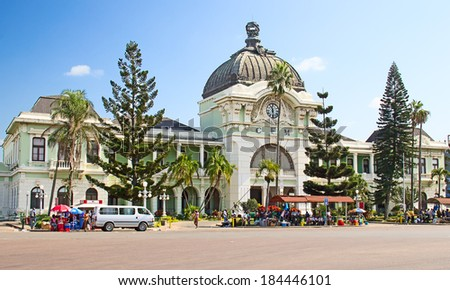 MAPUTO, MOZAMBIQUE - APRIL 29: Main railway statiion and bus terminal of Maputo, Mozambique on April 29, 2012. The station is transport hub for the country and historical landmark of colonial period - stock photo
