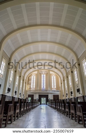 Maputo, Mozambique - Nov 27. Tourists can visit the Cathedral of Our Lady of the Immaculate Conception outside service hours. Nov 27, 2014 - Maputo, Mozambique - stock photo