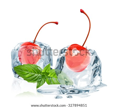 Maraschino cherries with basil sprig in ice cubes on white background - stock photo