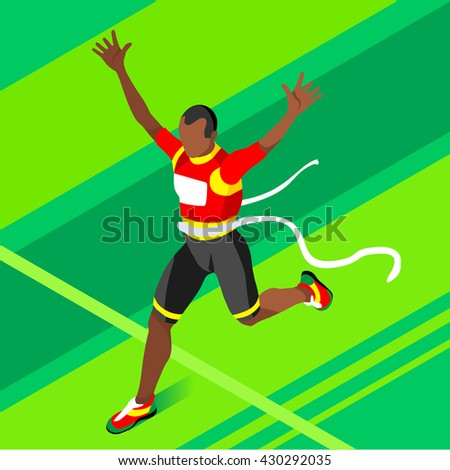 Marathon Finish Line Afro-American Running Man Athletics 2016 Summer Games.Win Concept.3D Isometric Marathon Athlete.Sport of Athletics Sporting Competition.Sport Infographic olympics Illustration.