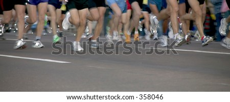 Marathon runners. - stock photo