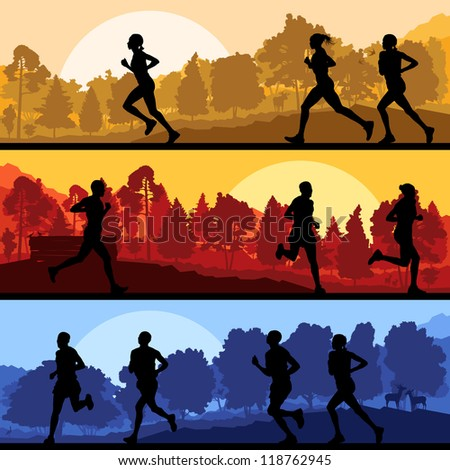 Marathon runners in wild forest nature mountain landscape background illustration - stock photo