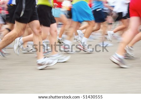 Marathon Runners (motion blur) - stock photo