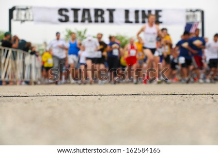 Marathon, starting line, shallow depth of field - stock photo