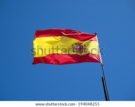 MARBELLA, ANDALUCIA/SPAIN - MAY 4 : Spanish flag flying in Marbella Spain on May 4, 2014