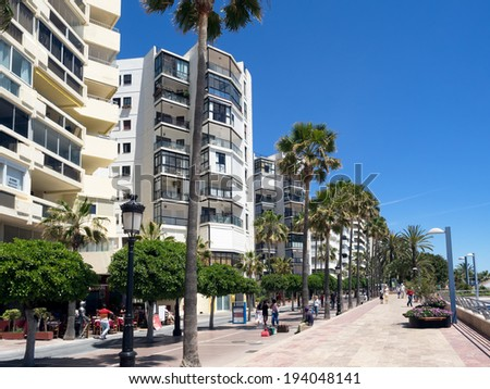MARBELLA, ANDALUCIA/SPAIN - MAY 4 : Street scene in Marbella Spain on May 4, 2014. Unidentified people. - stock photo