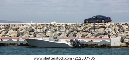 Marbella, Spain - June 24: Luxury boats and yachts at the marina in Marbella, Spain on June 24, 2014. - stock photo