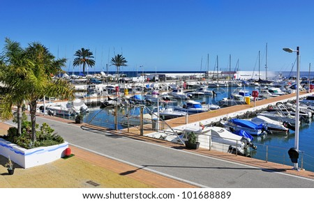MARBELLA, SPAIN - MARCH 13: A view of Puerto Deportivo de Marbella on March 13, 2012 in Marbella, Spain. This marina has berths for 377 boats - stock photo