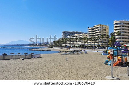 MARBELLA, SPAIN - MARCH 13: Venus Beach and its seafront on March 13, 2012 in Marbella, Spain. This beach is 400 meters long and 50 meters wide and has disabled access - stock photo