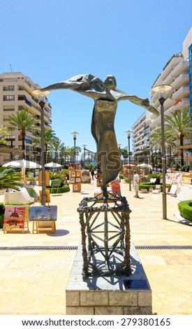 MARBELLA, SPAIN - MAY 9 : Salvador Dali sculpture pictured on May 9th, 2015, in Marbella Spain. This sculpture is locate in Puerto Banus, a marina of Marbella.  - stock photo