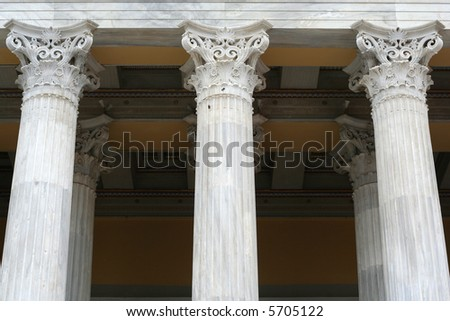 Marble ancient style columns in front of Zappion building in Athens, Greece - stock photo