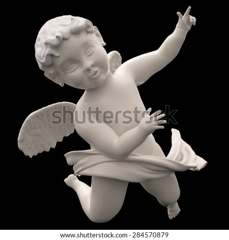 Marble Angel Chubby Male Child Winged. Baroque Putto Figure. Cherubim. Isolated on Black - stock photo