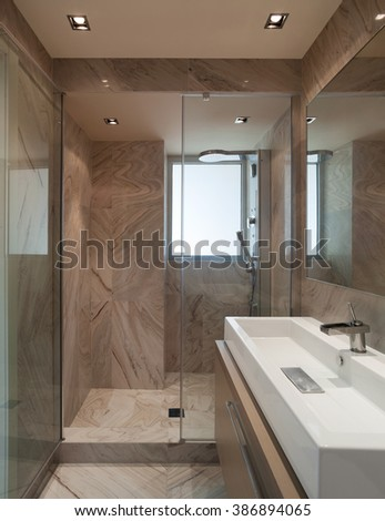 marble bathroom of a new house, sink modern design - stock photo