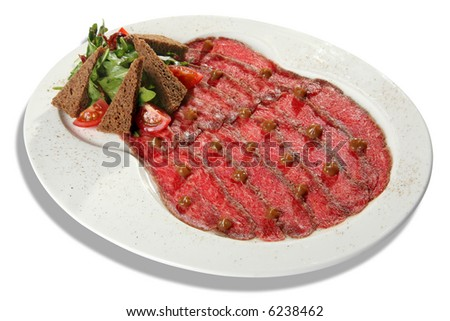 Marble beef meat with bread and tomato