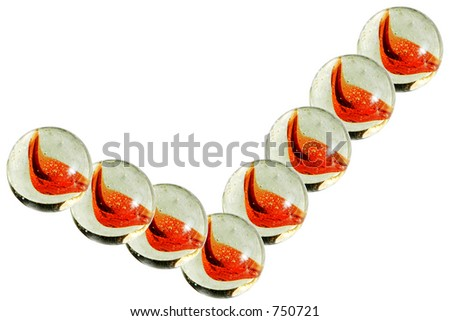 Marble bouncing higher across white background ~ represents rising higher, bouncing, or moving fast. - stock photo
